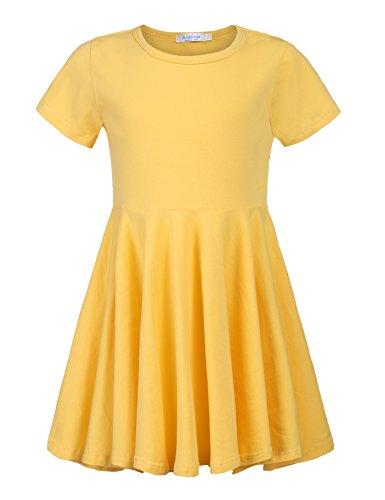 Kleid Mädchen Sommer A-Linie Kurzarm Baumwolle T-Shirt Kleider Freizeitkleidung, A Gelb, 160 Mädchen Mode Kleid