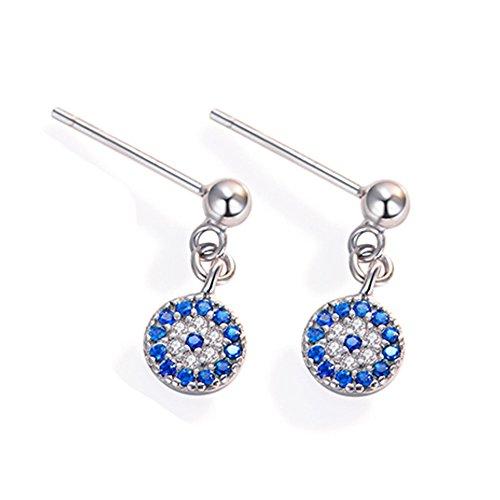 WLM Damen Persönlichkeit Sterling Silber 925 Dämon Auge Retro Mini Ohrringe/Blaue Augen Ohrringe/Mode Persönlichkeit Ohrringe,Besteck,Blaue Augen