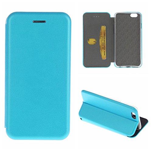 YHUISEN Solid Color Premium-PU-Leder und weicher TPU Gummischutz Mappen-Entwurfs-Flip Folio Case Schutzhülle mit Karten-Slot / Ständer für iPhone 6S 6 ( Color : Black ) Blue