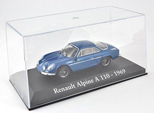 DieCast Metall Miniaturmodelle Modellauto 1:43 Oldtimer Klassiker Renault Alpine A110 Modell blau 1969 Altaya IXO inklusive Kunststoff Vitrine