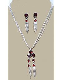 DollsofIndia Maroon Stone Studded Pendant With Chain And Earrings - Stone And Metal (JT40-mod) - Silver Color,...