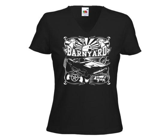 Hot Rod Damen T-Shirt Barnyard Muscle Car Pork Custom Rockabilly Schwarz