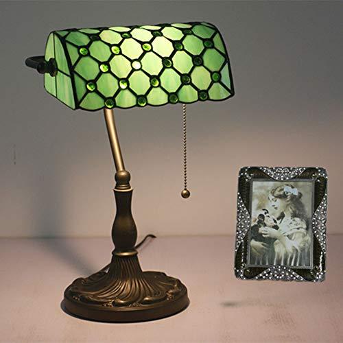 Tiffany Bankers Schreibtischlampe Vintage Glasmalerei Tischlampe für Büro & Zuhause TBD-002 Grün/Blau/Gelb,Green -