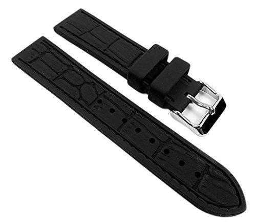 Minott Ersatzband Uhrenarmband Silichron Silikon Band schwarz 21902S, Anstoß:18 mm