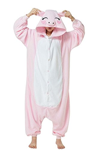 Einhorn Pyjamas Kostüm Jumpsuit Tier Schlafanzug Erwachsene Unisex Fasching Cosplay Karneval ( Rosa Schwein,X-Large)