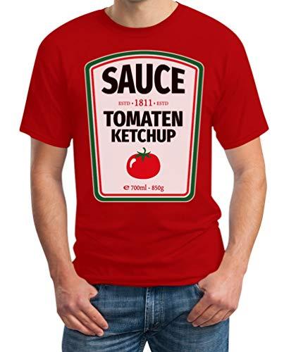 Fashing & Karneval Lebensmittel Saucen Kostüm Herren T-Shirt Ketchup Rot XXX-Large
