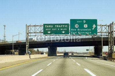 "Poster-Bild 110 x 70 cm: ""NJ Turnpike (I-95) exit to New Brunswick in New Jersey"", Bild auf Poster"