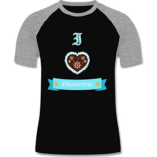 Oktoberfest Herren - I love Oktoberfest - zweifarbiges Baseballshirt für Männer Schwarz/Grau Meliert