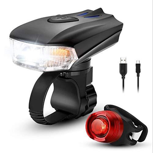 MUTANG USB Wiederaufladbare Fahrrad Licht Set 400 Hohe Lumen 3 Modi Vorne und Hinten Fahrrad Sicherheitsbeleuchtung Super Helle LED Scheinwerfer und Rücklicht Wasserdichte Taschenlampe für Nachtfahre (Wiederaufladbare Led-fahrrad-licht)