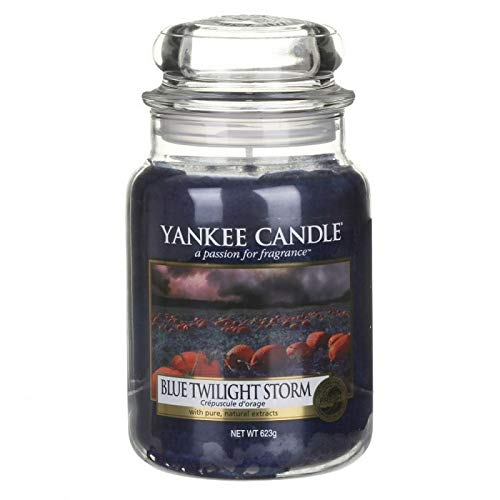 YANKEE CANDLE Blue Twilight Storm Kerze, Glass, GRANATOWY L -