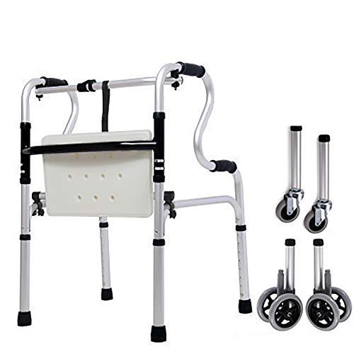 Andador,Andador Anciano,Andador Dos Ruedas,Andador Adulto,Ligero/De Aluminio/Plegado / Con Asiento De Plástico, Altura Ajustable, Ayuda Para Movilidad Limitada, Apoyabrazos Para Inodoro
