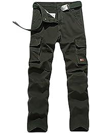 YiJee Hombre Estilo Militar Multibolsillos de Carga Pantalones de Trabajo