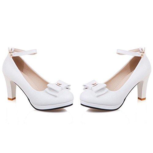 TAOFFEN Femmes Mode Bureau Escarpins white