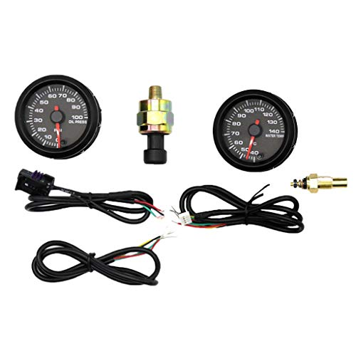 B Blesiya Universal Thermometer Instrument Wassertemperatur Messgerät + 2-Zoll-LCD-Auto-Öldruckanzeige