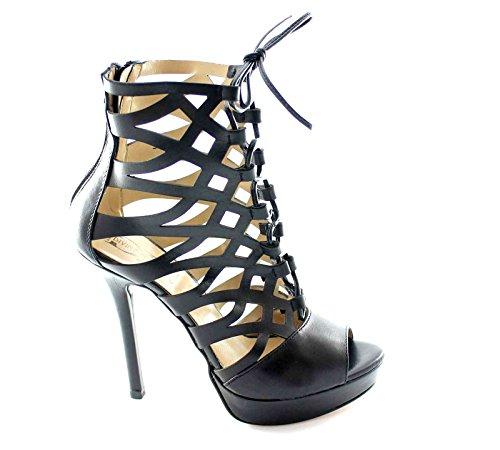 FOLLIE DIVINE 401,772 sandales talons est noir bottes perforées femmes plateaux Nero