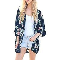 DEELIN Moda Mujer Gasa Mantón Floral Impresión 3/4 Manga Kimono Cardigan Tapa Arriba Blusa