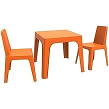 Resol Set Julieta - Color Naranja, Set de 1 Mesa y 2 sillas
