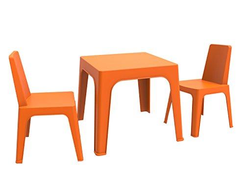 Resol Julieta Set Infantil de 2 Sillas y 1 Mesa, Plástico y Polipropileno, Naranja, 60x51x78 cm, 3 Unidades