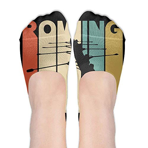 Vintage Style Rowing Silhouette Womens Performance Comfort Fit No-Show Socks.
