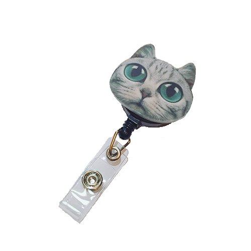 Big Eyes Galaxy nerdigen Katze verziert Retractable Badge Reel ID Holder mit Clip Unterstützung Sonix Snap