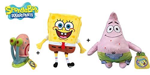 Bob Esponja - Pack 3 Peluches Bob (28cm) + Patricio (31cm) + Gary (13cm) - Calidad soft