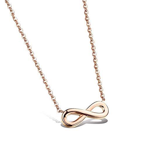 QueenAILSA Titan Stahl Roségold Brillengestell Horizontal 8 Form Damen Halskette Mädchen Freundinnen
