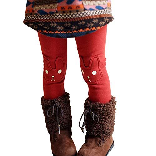 Chic-Chic Legging Bébé Fille en Coton Pantalon de Sport Collant Motif Imprimé Doux Mignon et Confortable Chaud Automne Hiver Rouge 9-10 Ans (Tour de Taille 96 cm)