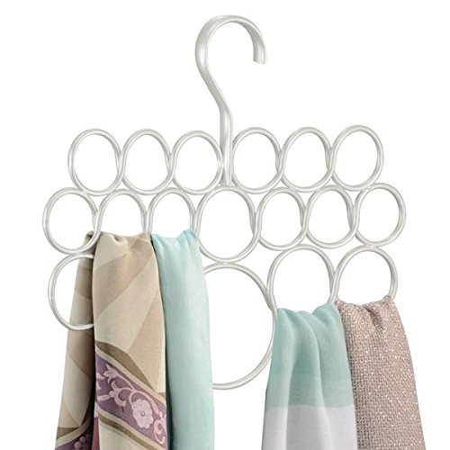 Mdesign porta sciarpe ? porta foulard perfetto per tenere in ordine sciarpe e foulard nell'armadio ? portacravatte ? 18 anelli ? bianco