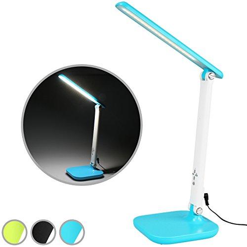 Jago - Lampe de bureau LED 5 W - lampe de table avec lumière réglable - port USB de recharge - Turquois