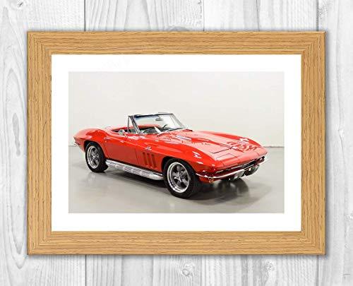 Engravia Digital 1966 Corvette Stingray HB3X Foto Auto Poster Foto A4 Druck Oak Frame