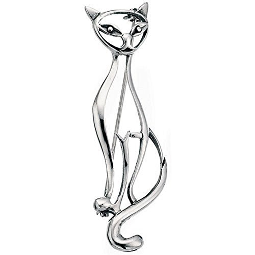 Sterling Silver Vintage Design Cat Brooch 60mm (2.36 inches) High by  Amore Bracciali - Gift Box