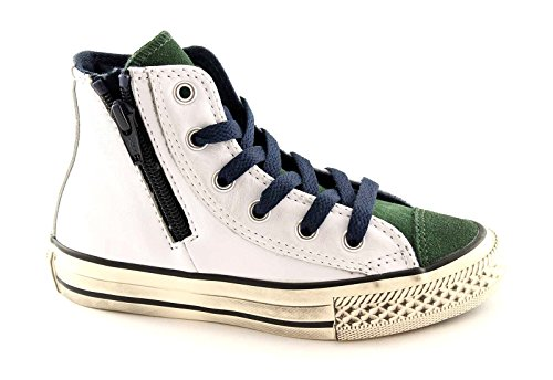 CONVERSE 646383C white pine all star pelle ct side zip hi Bianco