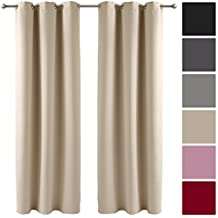 Decolicious – Juego di 2 cortinas opacas con ojales Beige claro 140x180 cm