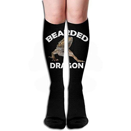 Girls Classics One Size Warm Winter Knee High Socks Fierce Bearded Dragon Lizard Polyester-cotton Black 1 Pair Long Tube Stockings for Athletic Soccer -