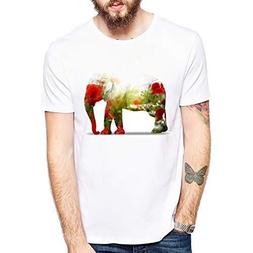 MKDLJY Camisetas Diseño De Moda Hombre Camiseta Animal Camiseta Manga Corta Elefante Enamorado con Flores Camisas Estampadas