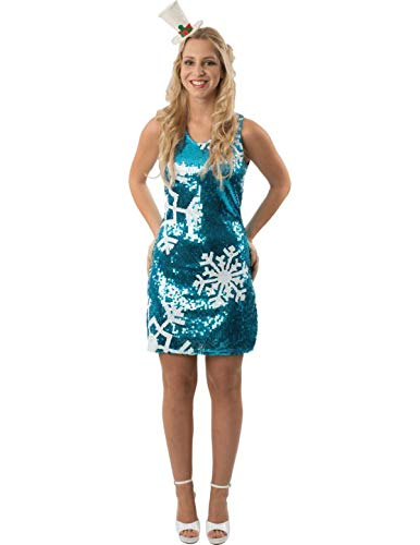 Damen Blau Pailletten Gefroren Schneeflocke Weihnachten Mini Kleid -