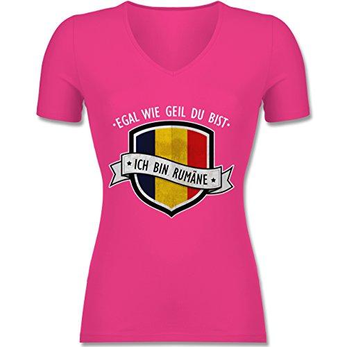 Shirtracer Länder - Egal wie Geil Du BIST - Ich Bin Rumäne - Tailliertes T-Shirt mit V-Ausschnitt für Frauen Fuchsia