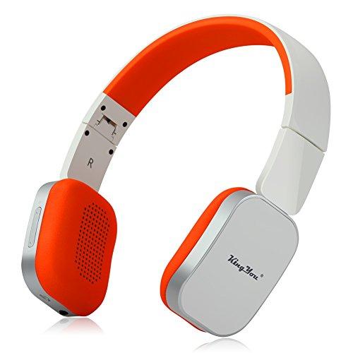 KingYou On-Ear Bluetooth Kopfhörer Faltbare Drahtlose Stereo Headset mit Mikrofon und Wired Modus für iPhone, iPad, iPod, Android smartphone, Laptop und MP3-Player(HD-01 Weiß+Orange)