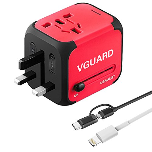 VGUARD Universellen 4-in-1 Reiseadapter Netzteil mit Doppel USB-Ports und Schmelzsicherung Multinationaler Ladestecker Ladegerät Ladeadapter Reisestecker Steckdosenadapter World Travel Adapter für Weltweit 150 Ländern mit EU / UK / US / AU Stecker LED-Betriebsanzeige Universal fusionierten Sicherheit AC-in einem Ladegerät [mit 2-in-1 Micro USB & Type C Kabel (1m) & Lightning USB Kabel (1m)] - Rot