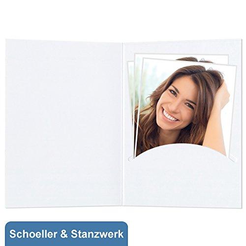 fotomappen bestellen 50 Stück Portraitmappen nur Einsteckschlitz für 15x20 cm Fotos - ohne Passepartout - weiß - Kwick - Schoeller & Stanzwerk