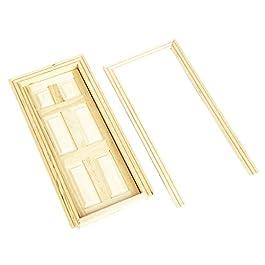1/12 Casa Delle Bambole In Miniatura Porta Di Legno Interno 6-pannello Per Accessori Fai Da Te