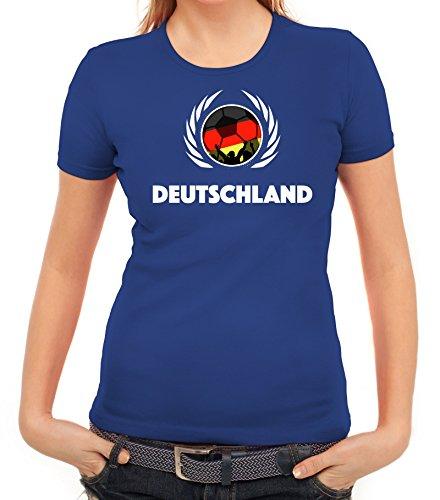 ShirtStreet Germany Wappen Soccer Fussball WM Fanfest Gruppen Fan Wappen Damen T-Shirt Fußball Deutschland Royal Blau
