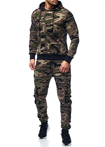 Herren Jogginganzug Camouflage Sportanzug Jogging Army Grün Camou L