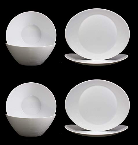 Fitting Gifts Bistro Collection Service Prometeo de Forme Ovale, Blanc Brillant, avec 4X Saladiers et 4X Plats de Service (8 Pièces)
