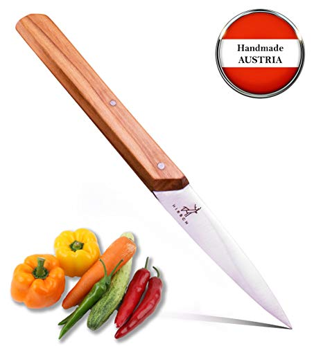 HIRSCH Classic Mittelspitz [2019] Handgefertigtes Küchenmesser - Gemüsemesser und Schälmesser Tomatenmesser - Kochmesser-Steakmesser-Knife-Kuchenmesser Filetiermesser-Küchenhelfer