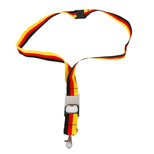 Schlüsselband mit Flaschenöffner Fussball Party Fan-Artikel Deutschland schwarz-rot-gelb (Schlüsselband mit Flaschenöffner)