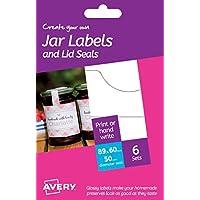 Avery - Set per creare etichette per marmellata personalizzate, 89 x 60 mm, bianco