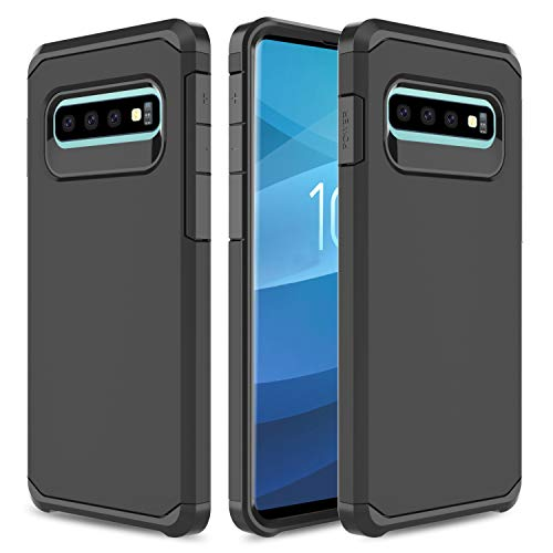 USHAWN kompatible Samsung Galaxy S10 Plus Hülle, Galaxy S10+ Hülle, Hybrid Dual Layer Slim Rugged Shockproof Armor Defender Protection Phone Case Cover Kompatibel mit Galaxy S10 Plus 6.4 Zoll, schwarz Rugged Phone Case