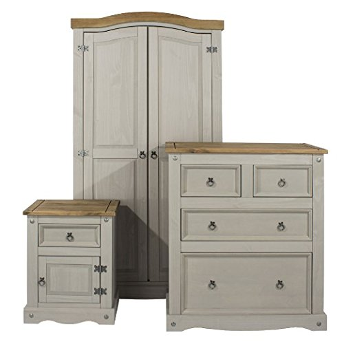 Chest Of Drawers & 2 Door Wardrobe Trio Set  Core