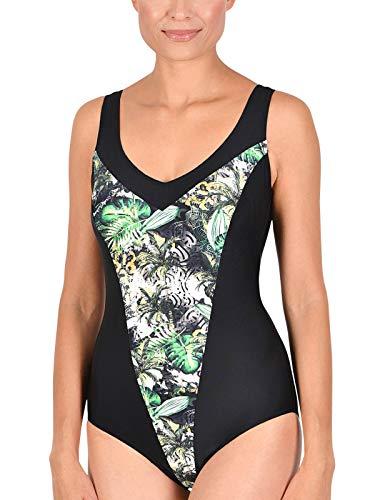 Naturana Badeanzug mit Corsage 31850 Gr. 52 B in schwarz-grün-weiß